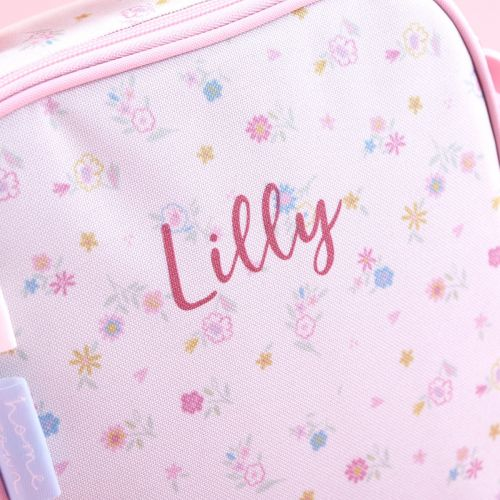 Personalized Pink Floral Print Lunch Bag