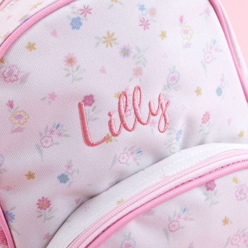 Personalised Pink Floral Print Medium Backpack