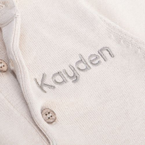 Personalised Oatmeal Knitted Baby Romper