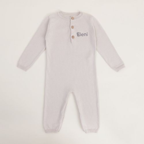 Personalised Grey Knitted Baby Romper