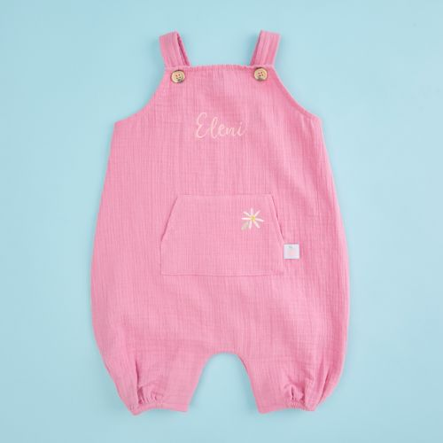 Personalised Pink Muslin Baby Romper