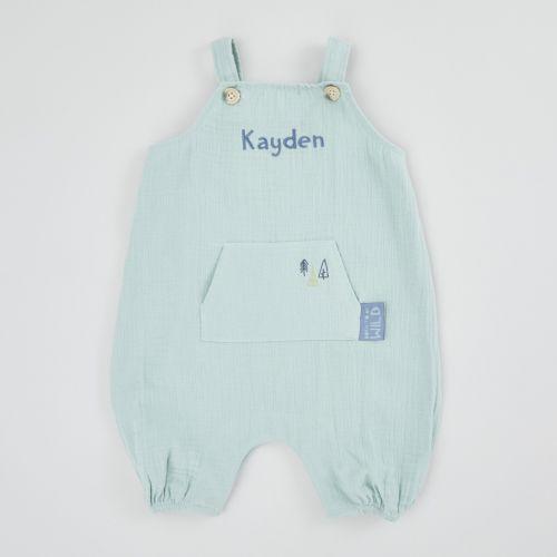 Personalised Blue Muslin Baby Romper