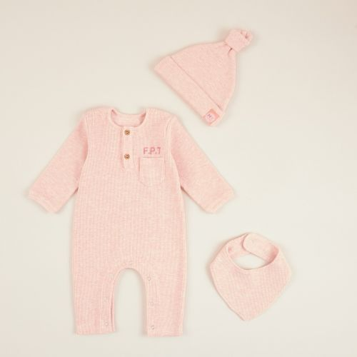 Personalized Pink Ribbed Jersey Outfit Set (3 piece)