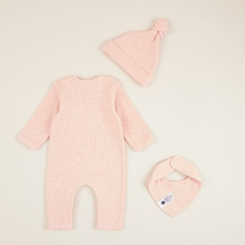 Personalised Pink Ribbed Jersey Outfit Set (3 piece)