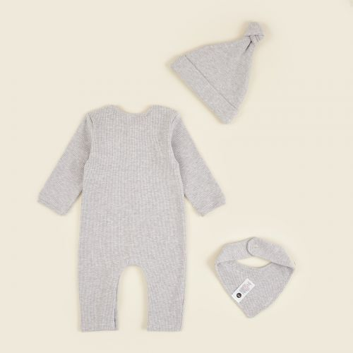Personalized Grey Ribbed Jersey Outfit Set (3 piece)