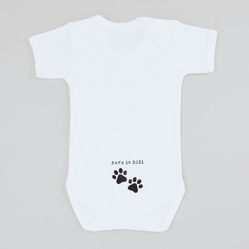 Personalised White Puppy Design Bodysuit