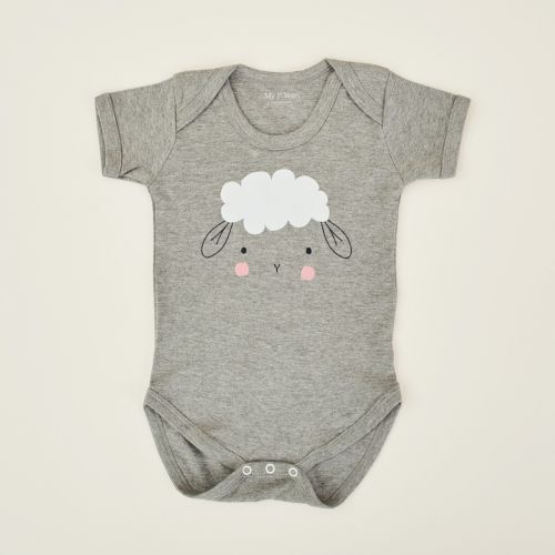 Personalised Grey Sheep Design Bodysuit
