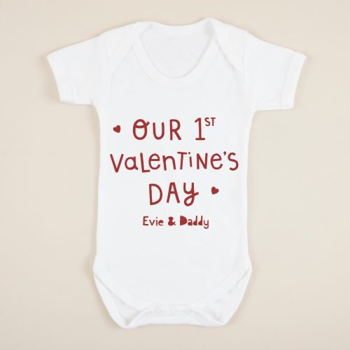 Personalised White 1st Valentine's Day Design Bodysuit