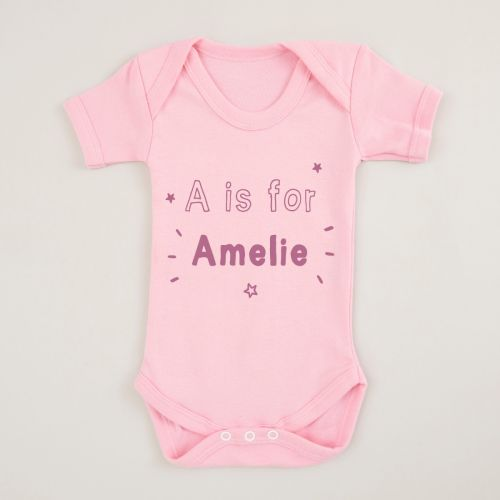 Personalized Pink 'Letter' is for 'Name' Bodysuit