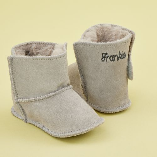 Personalised Grey Suede Booties