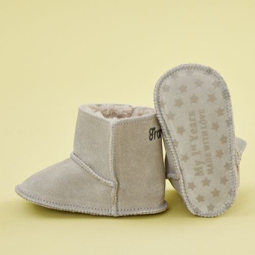 Personalized Gray Suede Booties