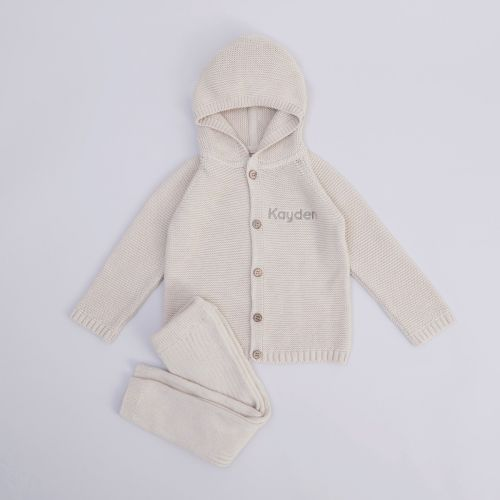 Personalised Oatmeal Knitted Baby Outfit Set (2 Piece)