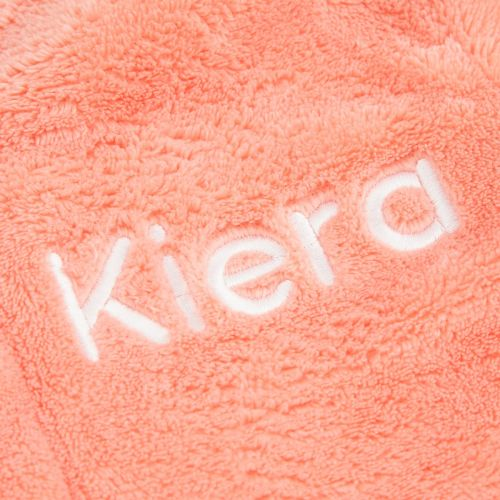 Personalised Coral Hooded Fleece Dressing Gown