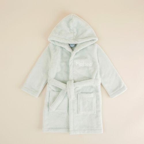 Personalised Mint Hooded Fleece Dressing Gown