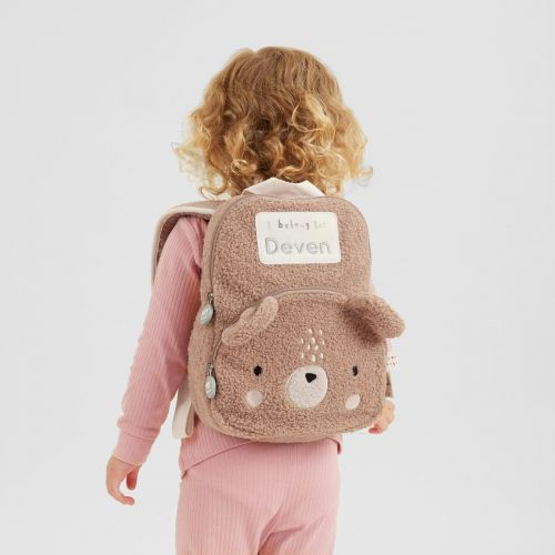 Personalised Fluffy Bear Character Mini Backpack