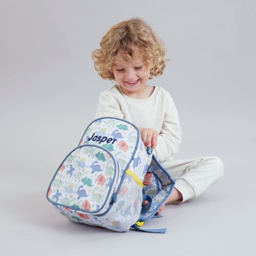 Personalised Colourful Dinosaur Print Mini Backpack