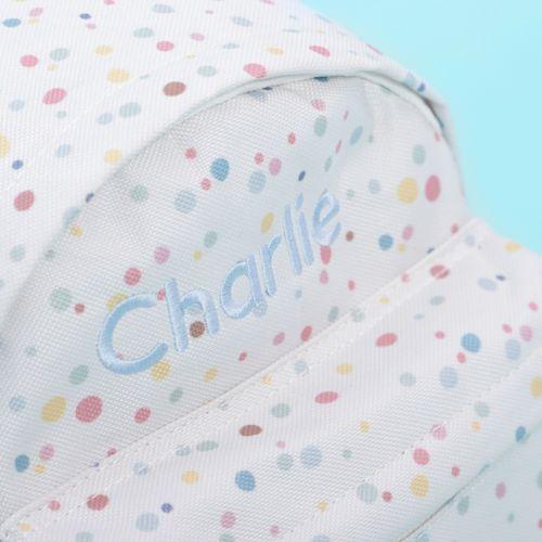Personalised Rainbow Polka Dot Print Mini Backpack