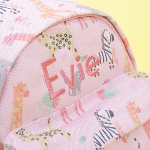 Personalised Pink Safari Print Mini Backpack