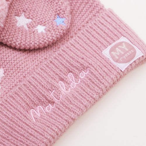 Personalised Pink Knitted Hat and Mittens Set