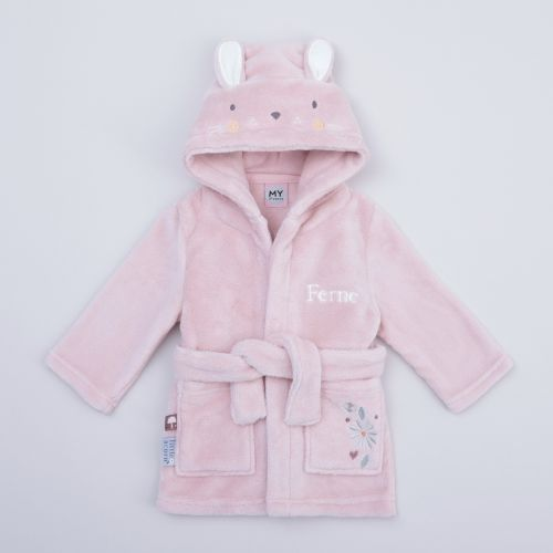 Personalised Pink Bunny Fleece Dressing Gown