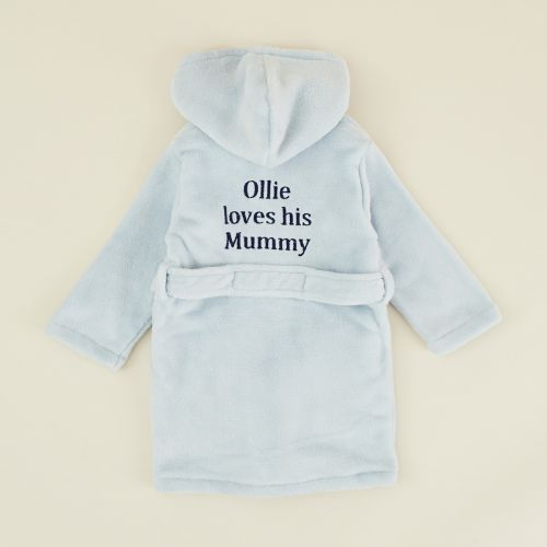 Personalised Blue 'Loves Mummy' Dressing Gown