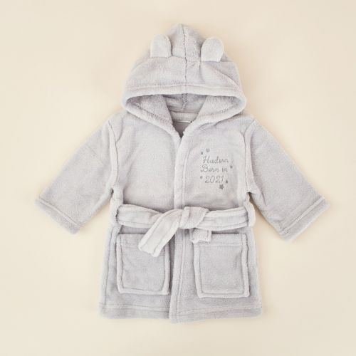 Personalised 'Born in 2021' Grey Hooded Fleece Robe