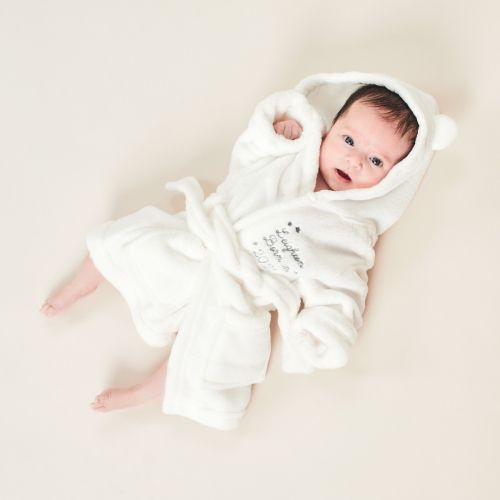 Personalised 'Born in 2021' Ivory Hooded Fleece Robe