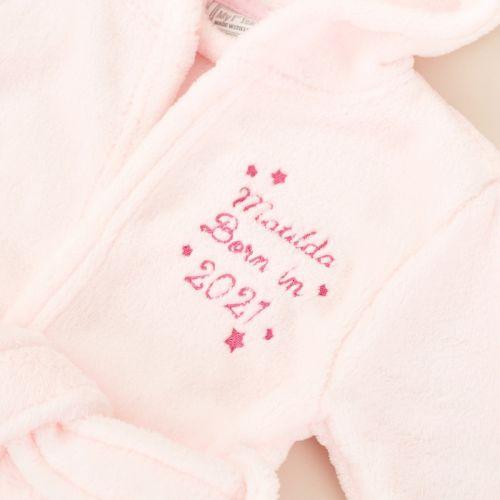 Personalised 'Born in 2021' Pink Hooded Fleece Robe