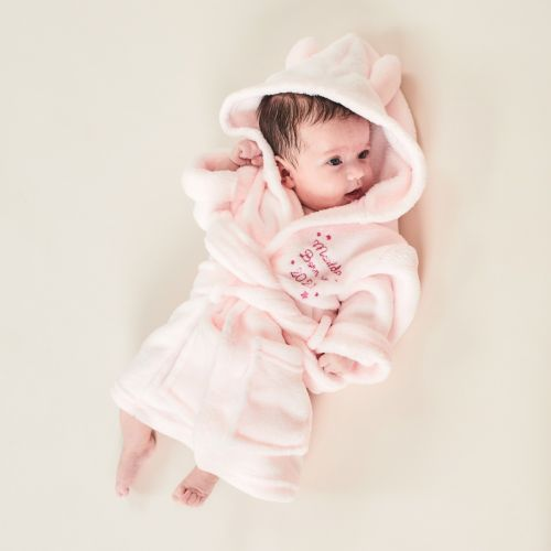 Personalised 'Born in 2021' Pink Hooded Fleece Robe