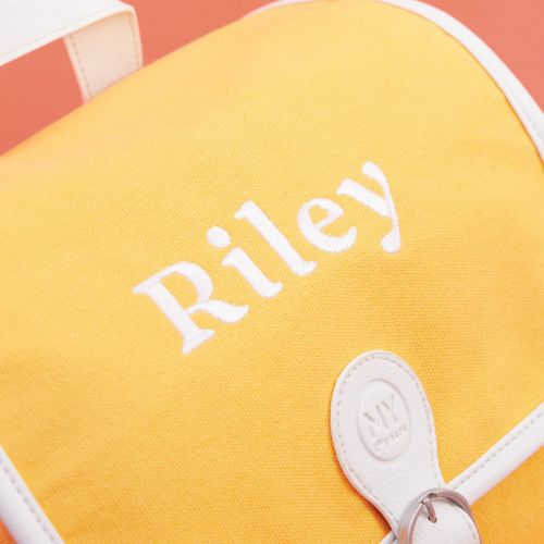 Personalised Yellow Canvas Backpack