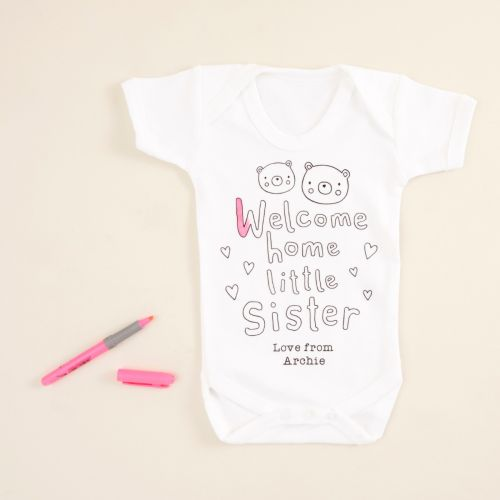 Personalised 'Welcome Home Little Sister' Colour Yourself Bodysuit