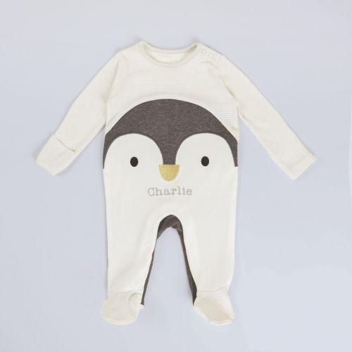 Personalised Grey Penguin Sleepsuit