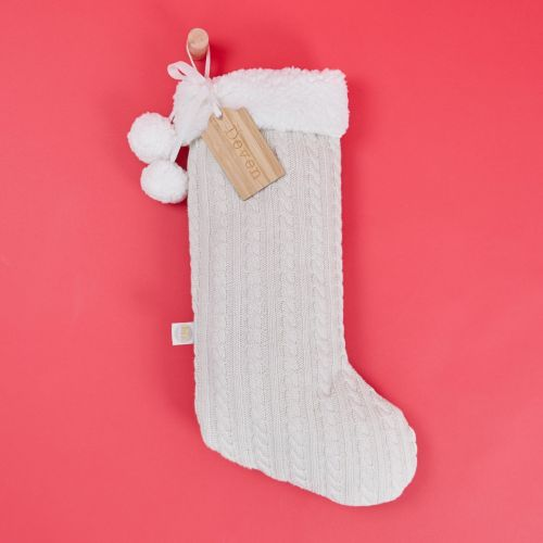Personalised Cream Medium Knitted Stocking