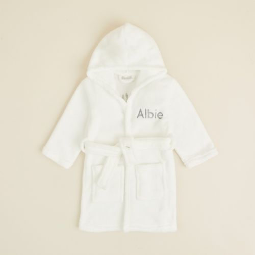 Personalised Ivory 'Little and Loved' Fleece Dressing Gown