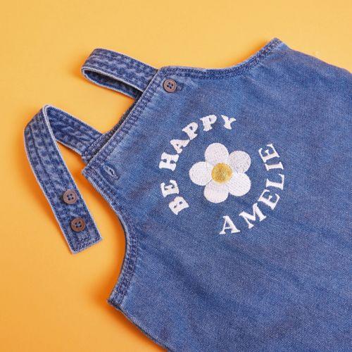 Personalised Daisy Design Denim Dungarees