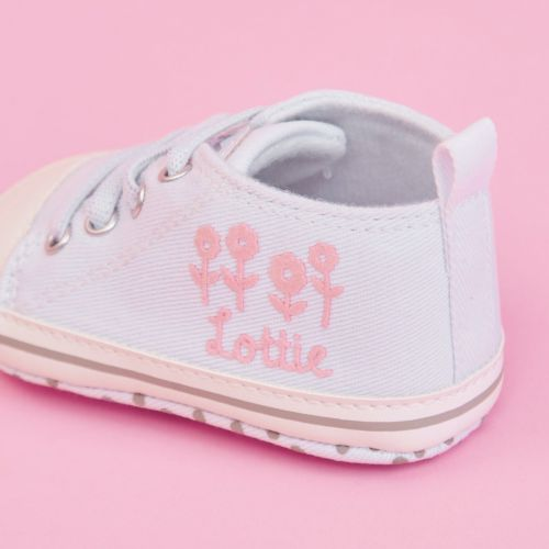 Personalised Floral Design Baby High Top Shoes