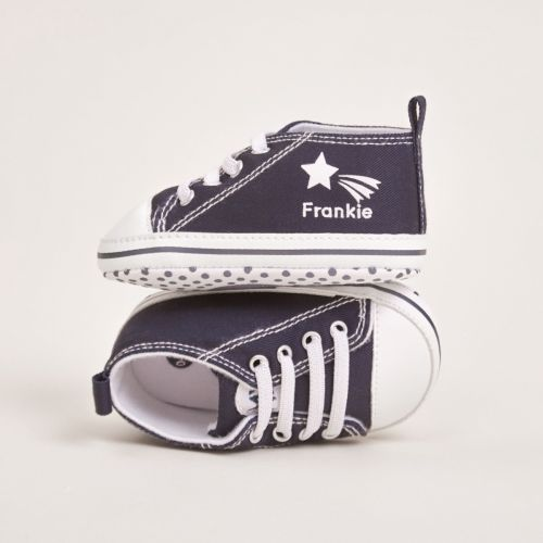 Personalised Navy Star Design High Top Shoes