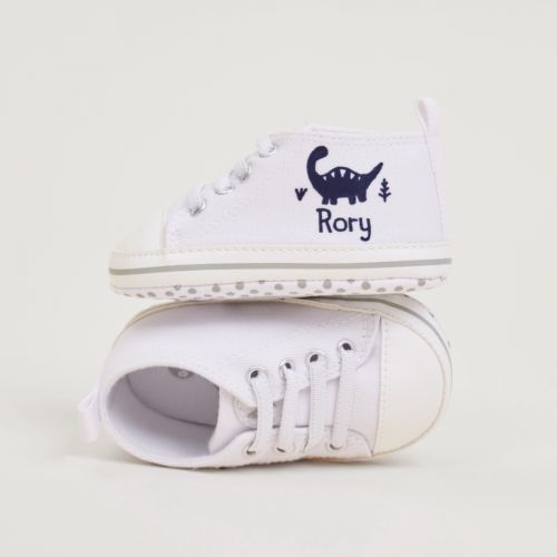 Personalised Dinosaur Design Baby High Top Shoes