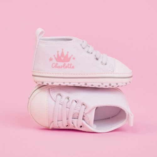 Personalised Pink Crown Design Baby High Top Shoes