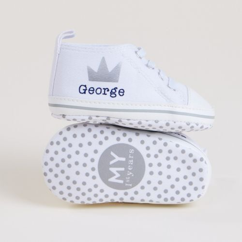 Personalised White Crown Design Baby High Top Shoes