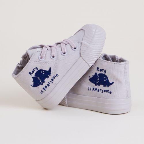 Personalised Grey 'Roarsome' Dinosaur High Top Trainers