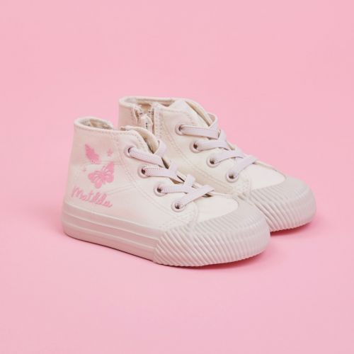 Personalised White Butterfly Design High Top Trainers