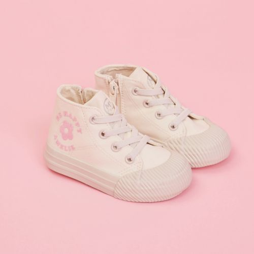 Personalised White 'Be Happy' High Top Trainers