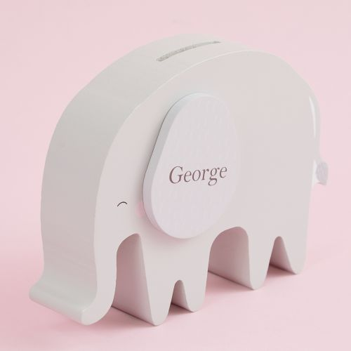 Personalized Gray Elephant Money Box