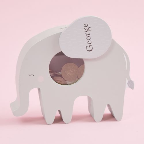 Personalised Grey Elephant Money Box