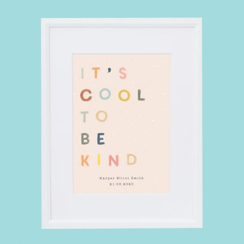 Personalised Colourful 'Cool to be Kind' Wall Art