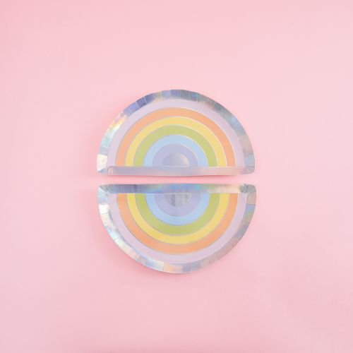 Ginger Ray Pastel and Iridescent  Rainbow Party Paper Plates