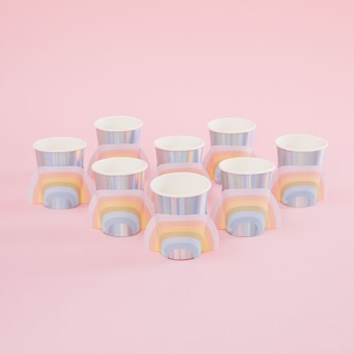 Ginger Ray Pastel and Iridescent Rainbow Party Paper Cups