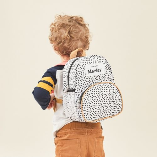 Personalized Black and White Polka Dot Backpack