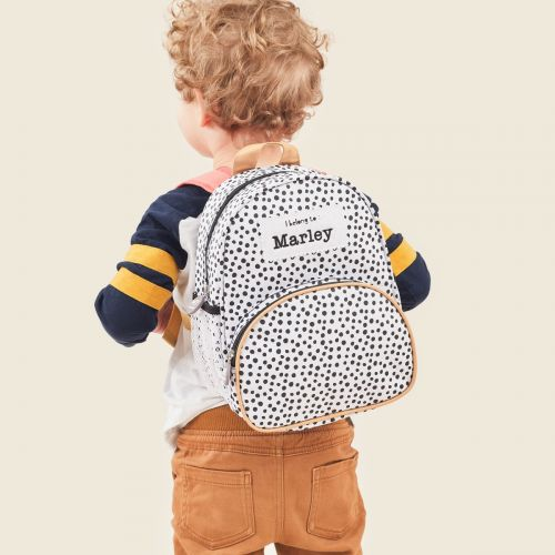 Personalised Black and White Polka Dot Backpack